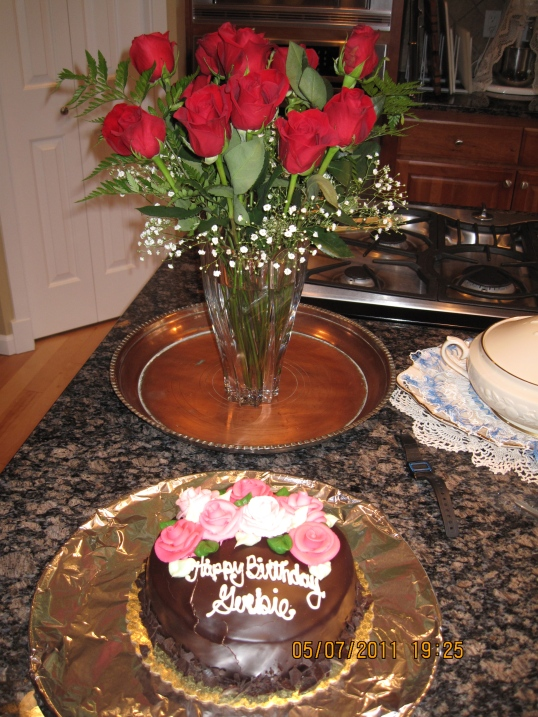 roses and bday cake