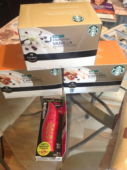 Fred Meyer: Retail Price:$40, I paid:$20! I've been wanting to try this new starbucks coffee but I find it too pricey and I know that they will go on sale so I waited and today was the day to get them(i had a good coupon). I also wanted to try the organic mascara.(i also had a coupon for this.)