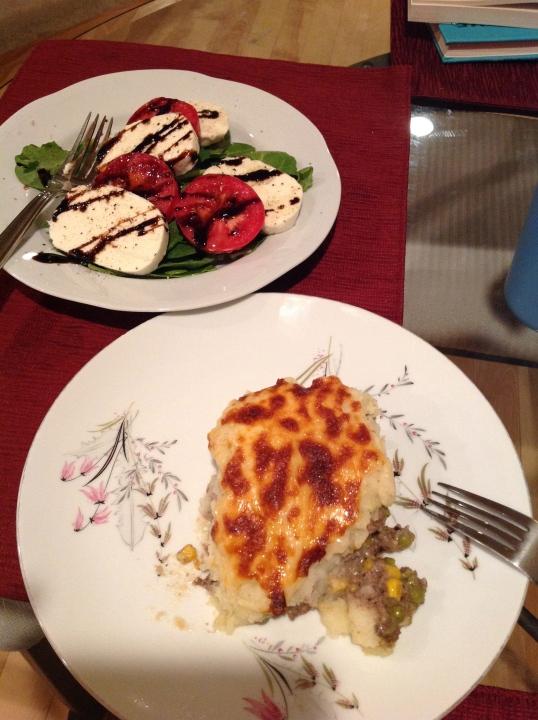 left over shepherd's pie and another caprese salad