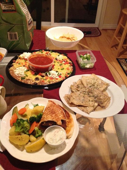 artichoke ravioli(trader joe's),left over gyro,bean dip and chips