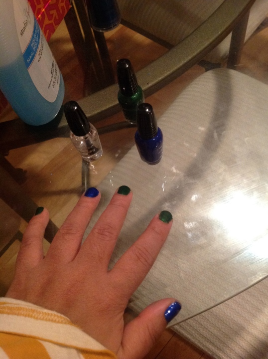 painted my nails blue and green!