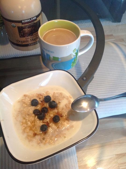 breakfast:oatmeal and coffee