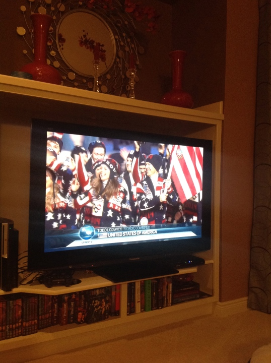 watched the Winter Olympics ceremony!GO USA!!
