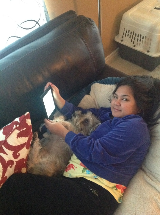 reading and cuddling with my fur son!