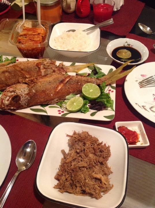 Sunday dinner:fried snapper,kimchi,kalua pork(leftover)