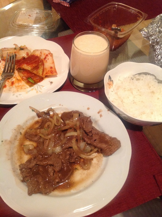 kimchi,filipino beef steak,cantaloupe