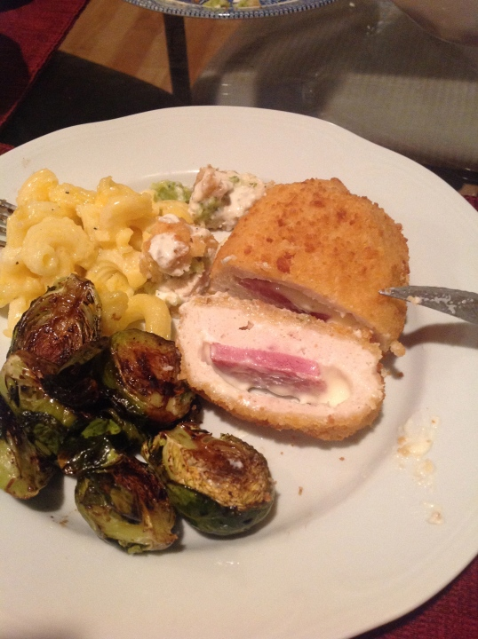 VDAY dinner:chicken cordon blue,mac and cheese,roasted brussels sprouts