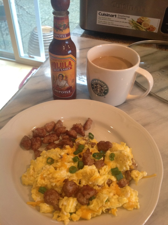 weekend breakfast:eggs,sausage,coffee