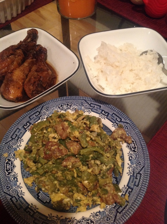 sunday dinner:chicken adobo,ampalaya