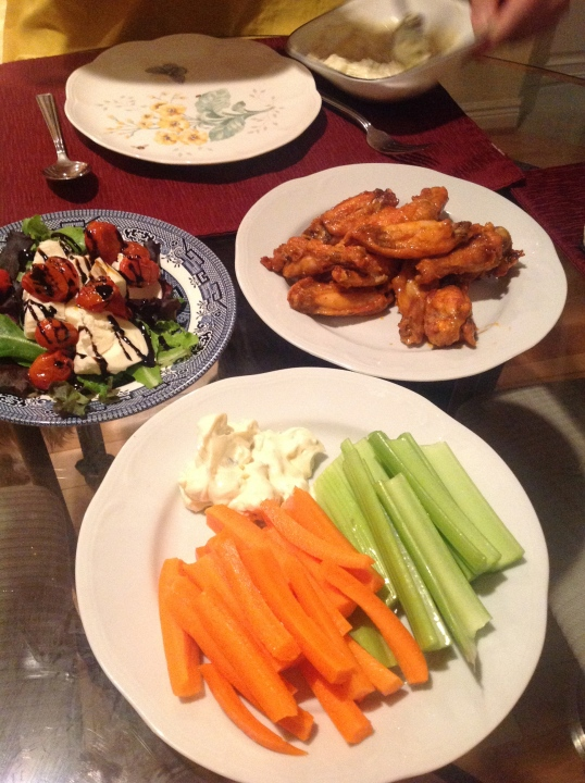 Hubs requested chicken wings this week. I also made caprese salad