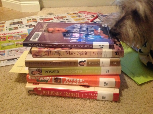 Riley checking out the books I got from the Library