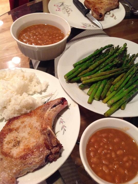 beans,asparagus,pork chop