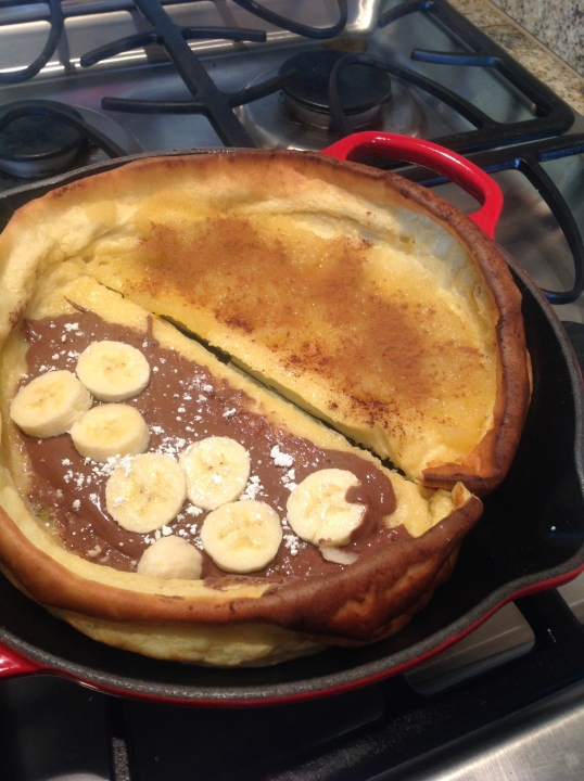 Souffle Pancakes:I put nutella and banana,hubs had apple sauce and cinnamon