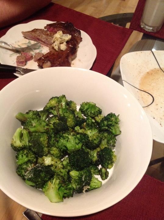 my fave lately,roasted broccoli (i splurged and bought organic)