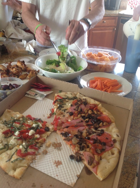 pizza,chicken wings,salad (we invited my inlaws for dinner)