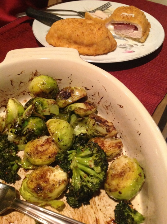 chicken cordon blue and roasted veggies