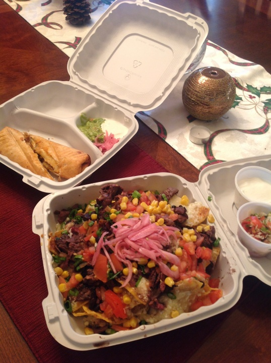 Take out from Agave Cosina restaurant! steak nachos is our fave lately