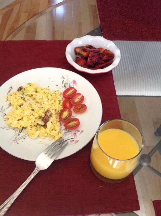 scramble eggs, strawberry in balsamic glaze,OJ (breakfast for hubs)