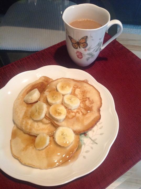 banana pancakes and coffee