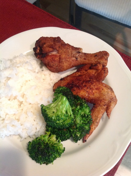 fried chicken,roasted broccoli