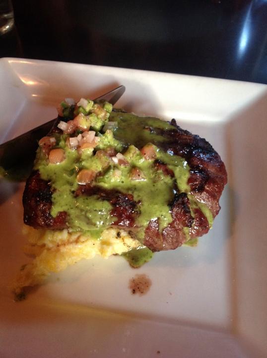 I had flat iron steak with goat cheese polenta!