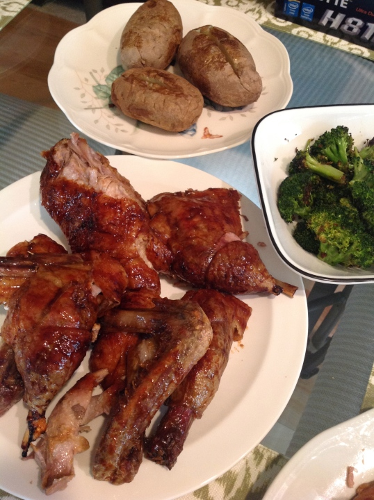 we had baked potato and roast broccoli too