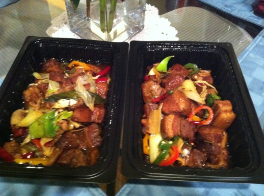 spicy pork belly dish(takeout from a chinese restaurant)