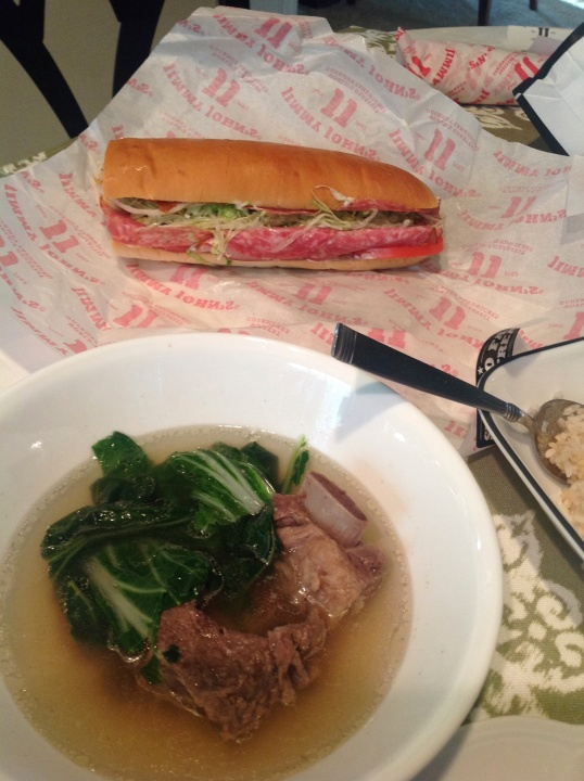 Hubby had Jimmy John sandwich while I had the soup