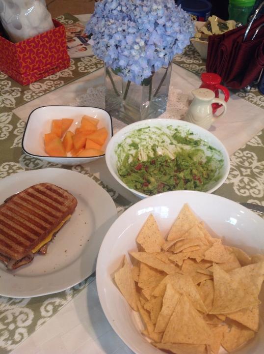 steak sandwich and guacamole