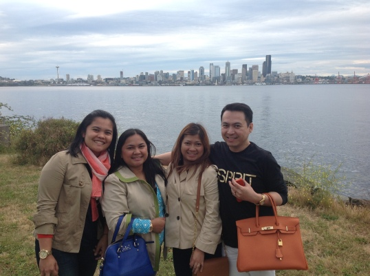 enjoying the view of Seattle in Alki Beach