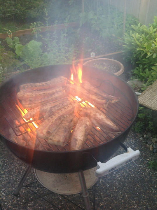 we're grilling pork and tuna belly