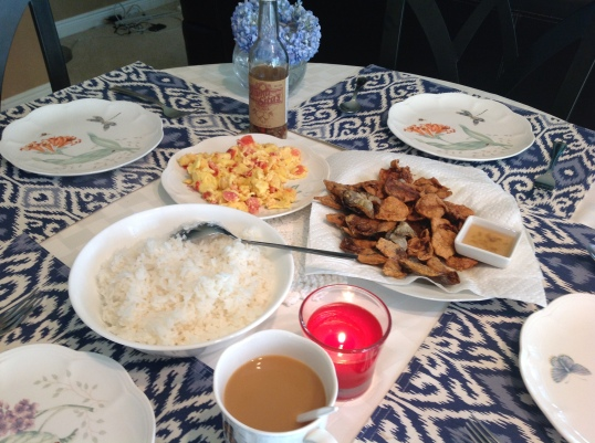 another filipino breakfast! dried fish and eggs