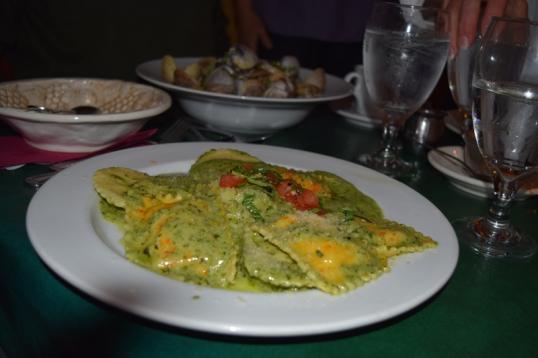 crab ravioli in pesto sauce (Hubs order)