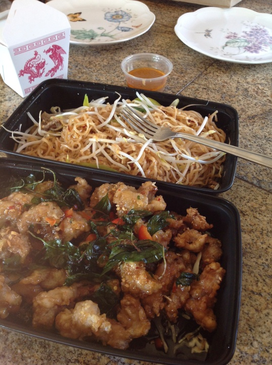 takeout fave:crispy garlic chicken,pad thai