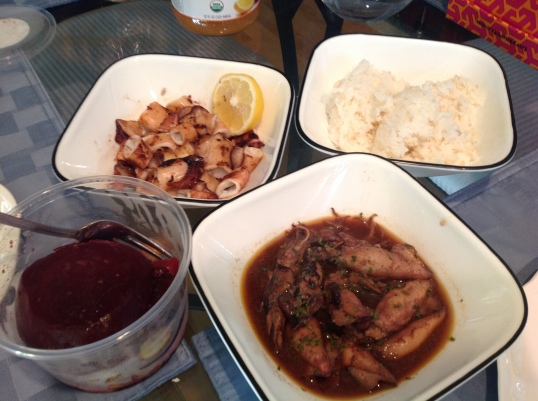 grilled calamari and sauteed calamari,roast beets