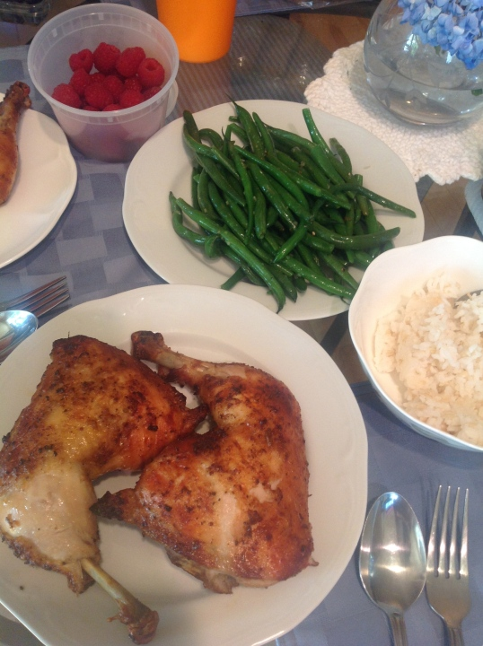 roast chicken,green beans