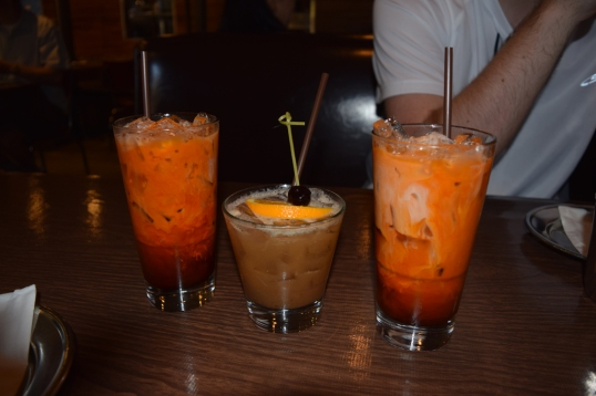 our yummy drinks (thai iced tea,tamarind risky sour for hubs)