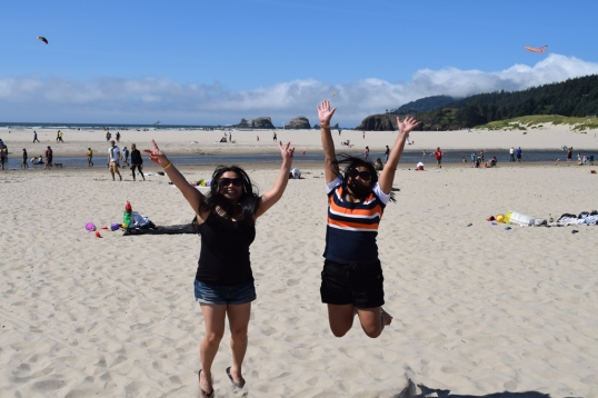 having too much fun at Cannon Beach