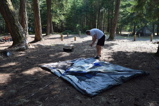 Hubs setting up our tent!