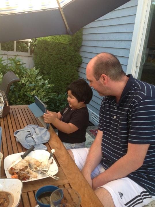 Jaden showing Zach some games