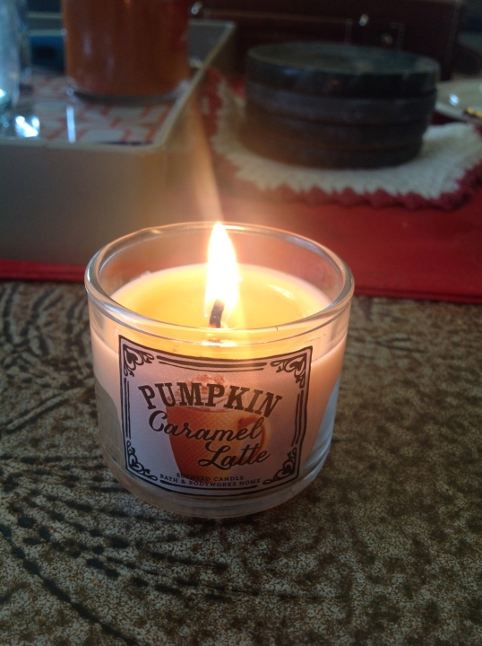 I got a free candle coupon from Bath and Body works and I picked this one! Smells delicious! The hubs doesn't care for this one.