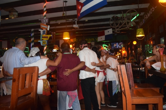 staff and customers singing and dancing!