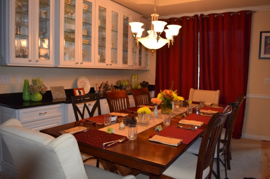 My Thanksgiving table 2014; just bought flowers because I wanted just a simple table.