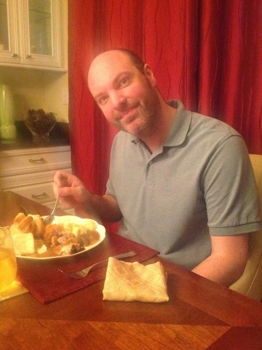 someone's enjoying his dinner!