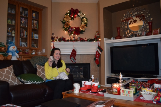 Sis In Law Julia opening one of her stocking gift