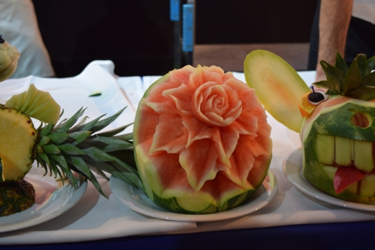 Fruit and Veggie carving demonstration (this is so pretty, watermelon flower)