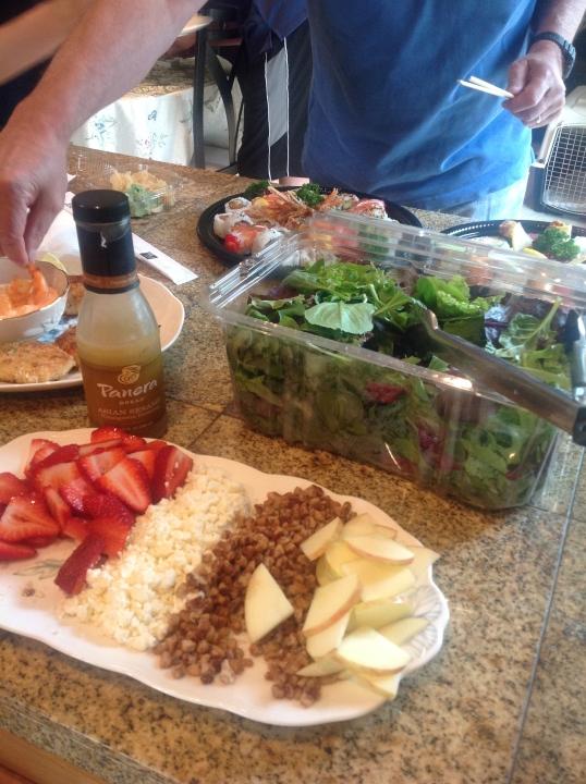 Strawberry,feta,candied walnuts,apple salad