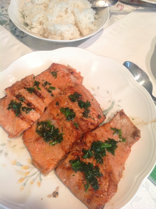 Herbs from the garden (grilled salmon with herb butter)