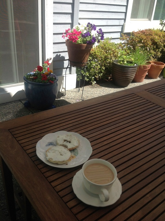 coffee and bagels in the garden!