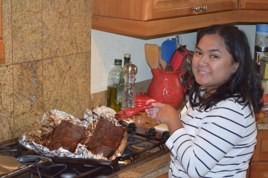 excuse the bad angle and the chin, the Hubs wanted to take a pic of me preparing the Ribs!hehe